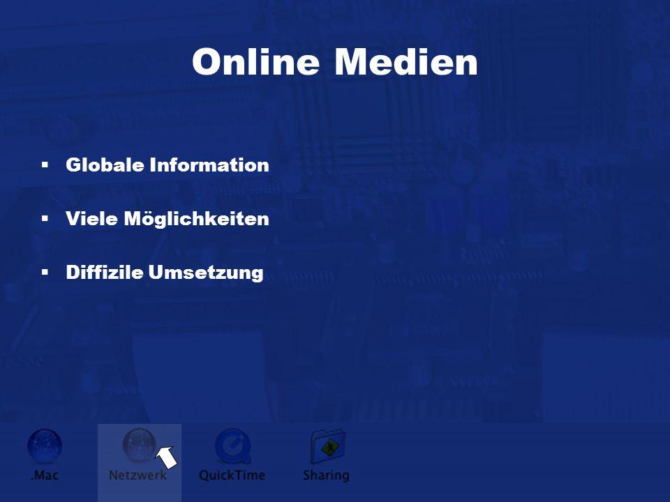Online Medien Globale Information Viele Möglichkeiten Diffizile Umsetzung