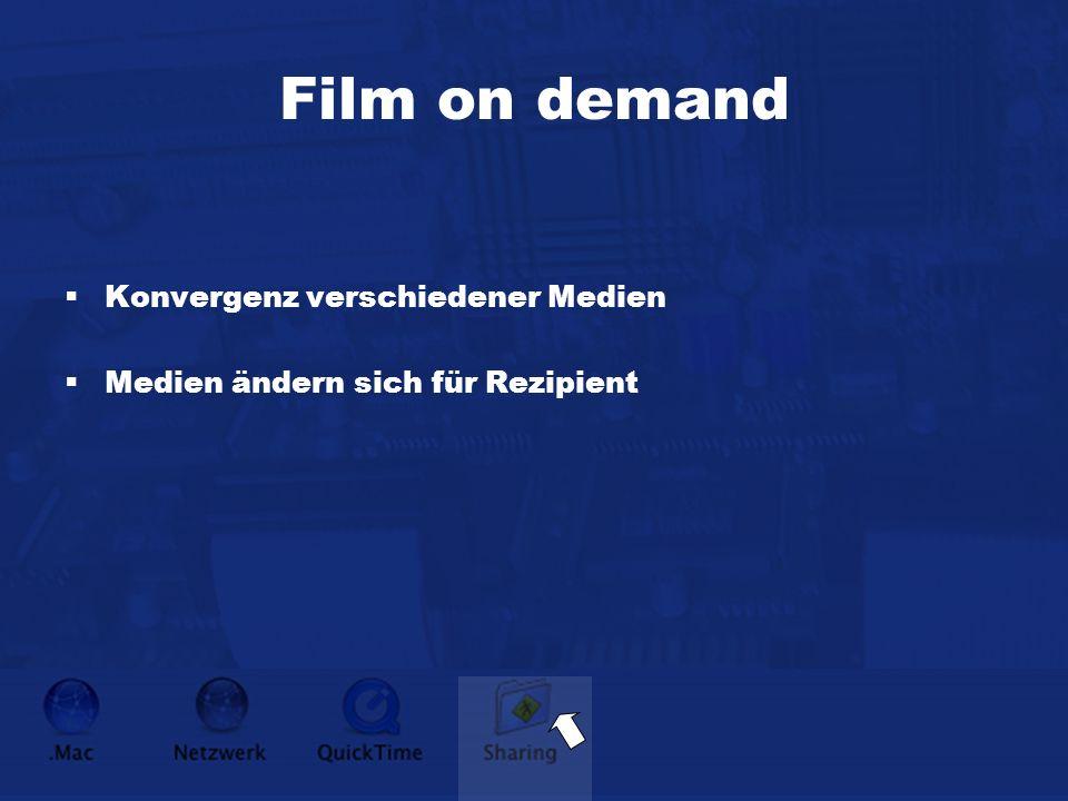 Film on demand Konvergenz verschiedener Medien Medien ändern sich für Rezipient