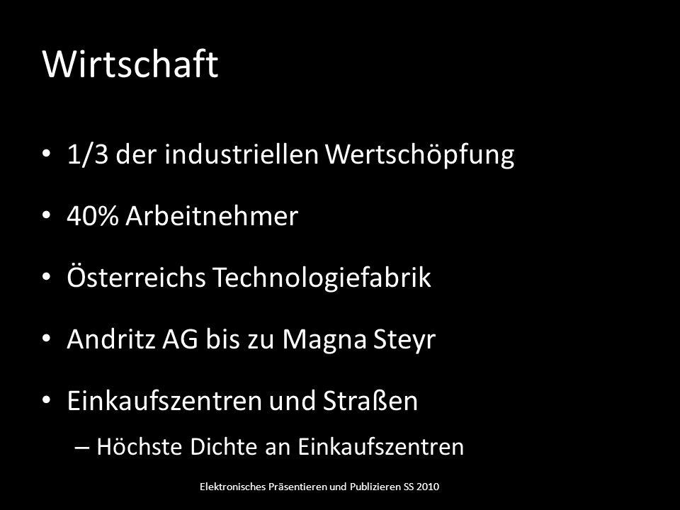 Wirtschaft 1/3 der industriellen Wertschöpfung 40% Arbeitnehmer Österreichs Technologiefabrik Andritz AG bis zu Magna Steyr Einkaufszentren und Straße