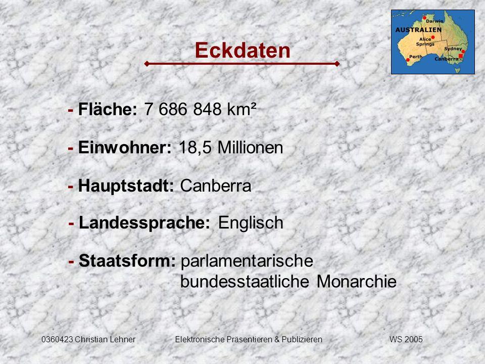 WS 20050360423 Christian LehnerElektronische Präsentieren & Publizieren Eckdaten - Fläche: 7 686 848 km² - Einwohner: 18,5 Millionen - Hauptstadt: Can