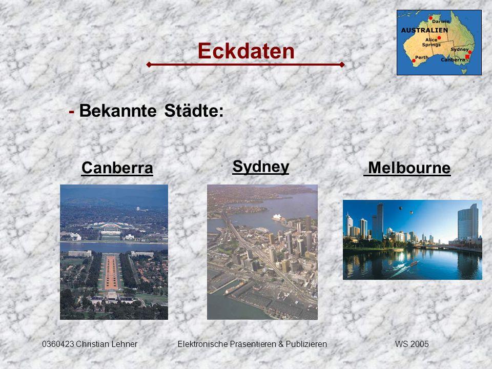 WS 20050360423 Christian LehnerElektronische Präsentieren & Publizieren Eckdaten - Bekannte Städte: Canberra Sydney Melbourne
