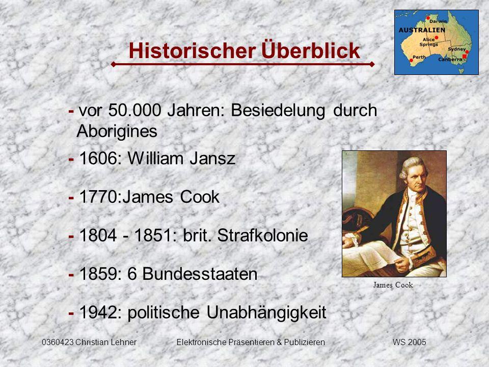 WS 20050360423 Christian LehnerElektronische Präsentieren & Publizieren Historischer Überblick - vor 50.000 Jahren: Besiedelung durch Aborigines - 160