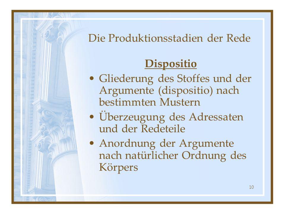 10 Die Produktionsstadien der Rede Dispositio Gliederung des Stoffes und der Argumente (dispositio) nach bestimmten Mustern Überzeugung des Adressaten
