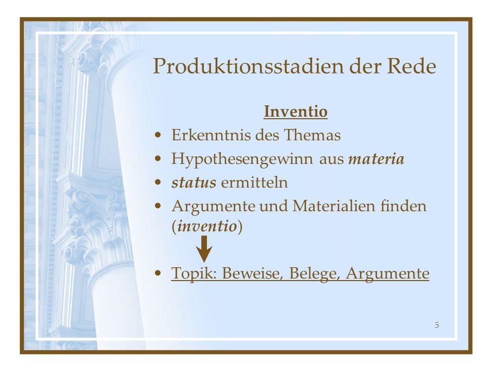 5 Produktionsstadien der Rede Inventio Erkenntnis des Themas Hypothesengewinn aus materia status ermitteln Argumente und Materialien finden (inventio)