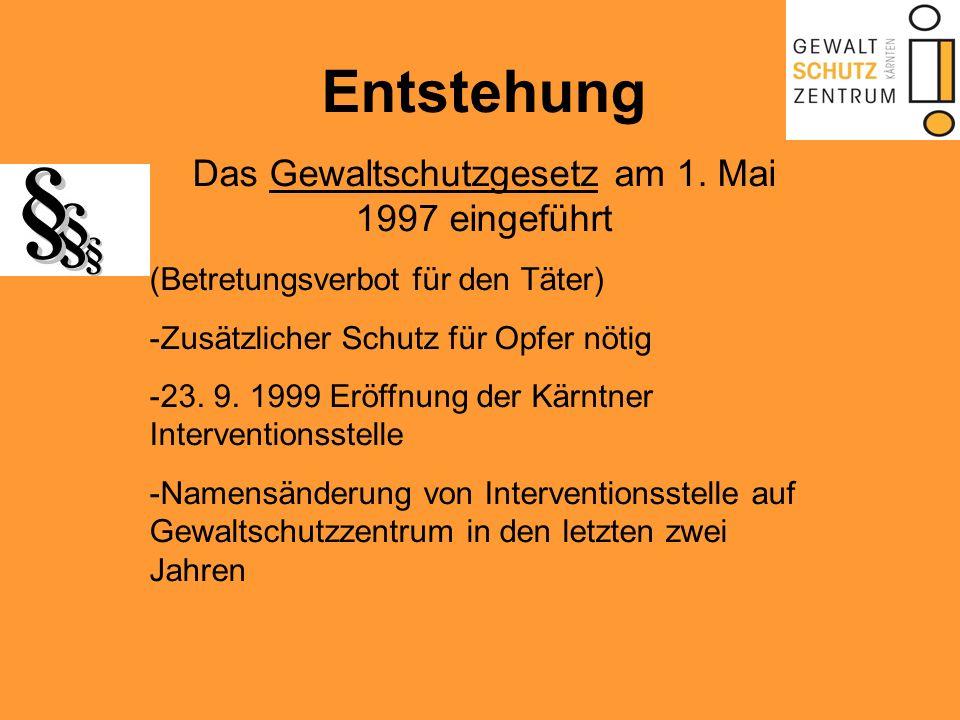 Entstehung Das Gewaltschutzgesetz am 1. Mai 1997 eingeführt (Betretungsverbot für den Täter) -Zusätzlicher Schutz für Opfer nötig -23. 9. 1999 Eröffnu