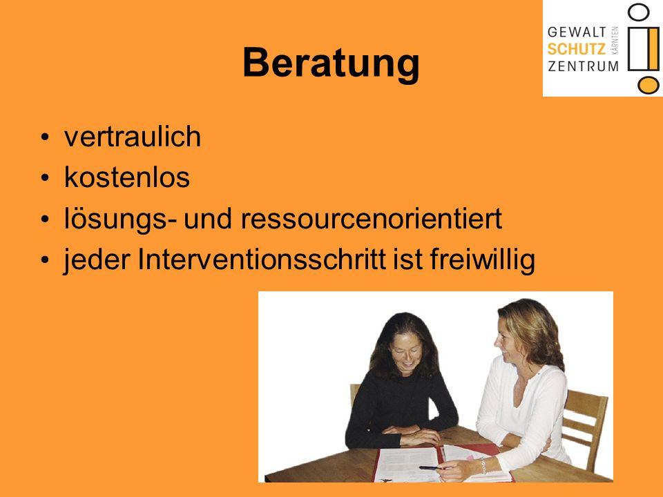 Beratung vertraulich kostenlos lösungs- und ressourcenorientiert jeder Interventionsschritt ist freiwillig