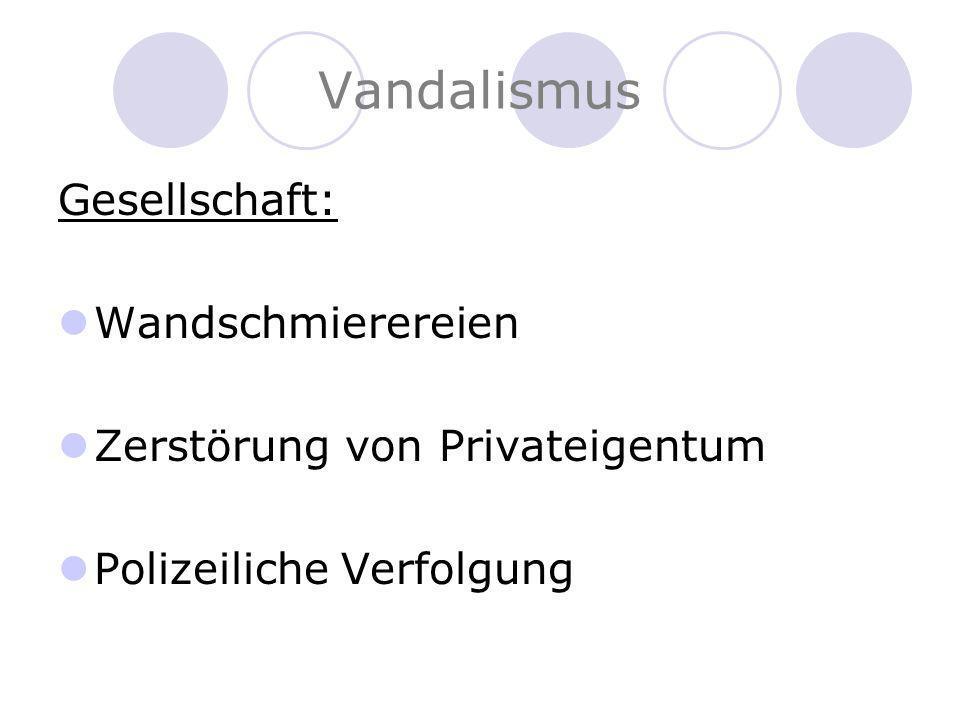Vandalismus Gesellschaft: Wandschmierereien Zerstörung von Privateigentum Polizeiliche Verfolgung