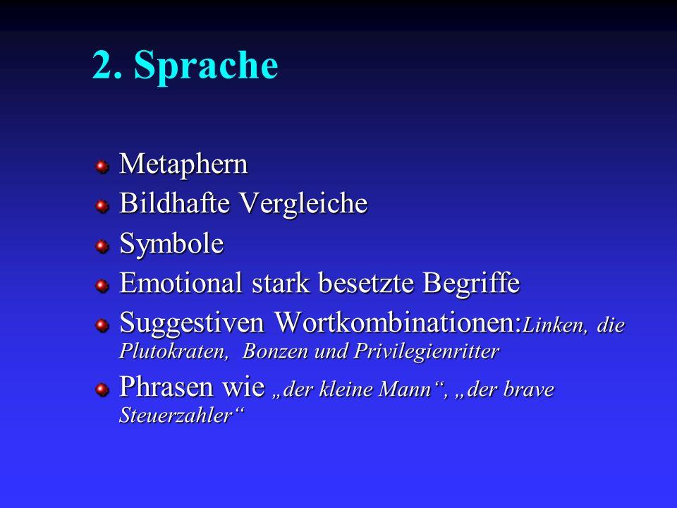2. Sprache Metaphern Bildhafte Vergleiche Symbole Emotional stark besetzte Begriffe Suggestiven Wortkombinationen: Linken, die Plutokraten, Bonzen und