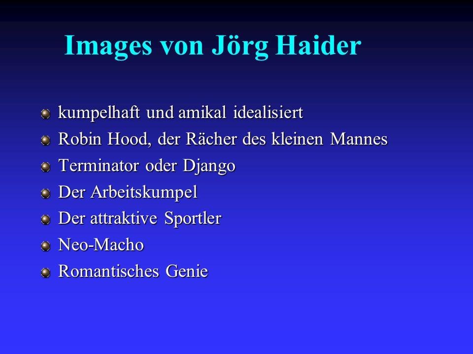Images von Jörg Haider kumpelhaft und amikal idealisiert Robin Hood, der Rächer des kleinen Mannes Terminator oder Django Der Arbeitskumpel Der attrak