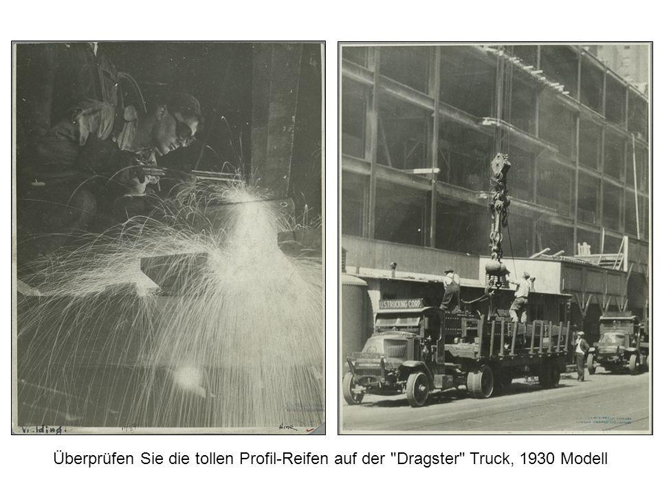 Sichere Arbeitsplätze und Lasten-Aufzüge in den 1930er Jahren.