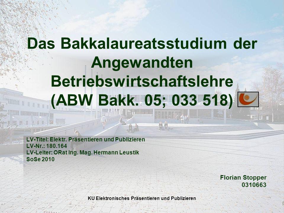 KU Elektronisches Präsentieren und Publizieren Das Bakkalaureatsstudium der Angewandten Betriebswirtschaftslehre (ABW Bakk.