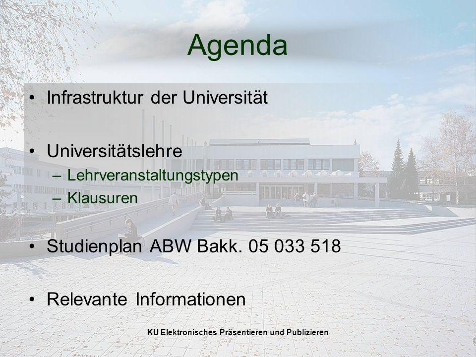 KU Elektronisches Präsentieren und Publizieren Agenda Infrastruktur der Universität Universitätslehre –Lehrveranstaltungstypen –Klausuren Studienplan ABW Bakk.