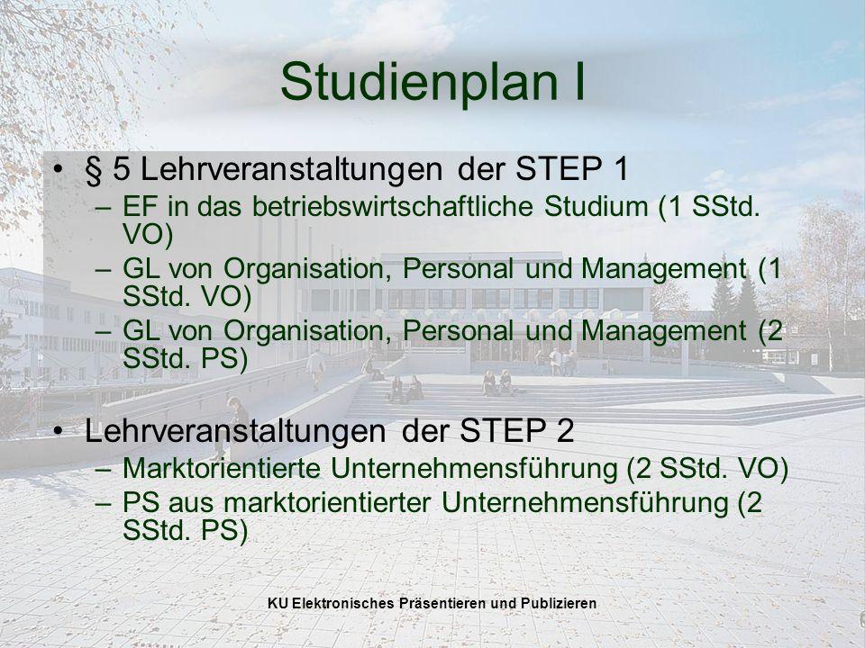 KU Elektronisches Präsentieren und Publizieren Studienplan I § 5 Lehrveranstaltungen der STEP 1 –EF in das betriebswirtschaftliche Studium (1 SStd.