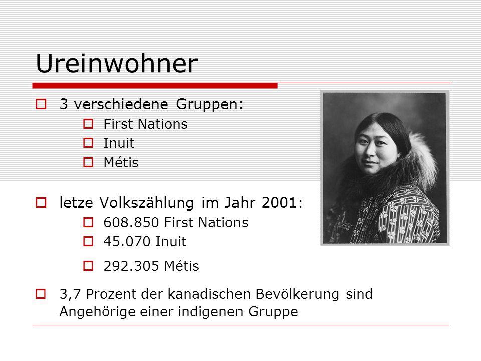 Ureinwohner 3 verschiedene Gruppen: First Nations Inuit Métis letze Volkszählung im Jahr 2001: 608.850 First Nations 45.070 Inuit 292.305 Métis 3,7 Pr