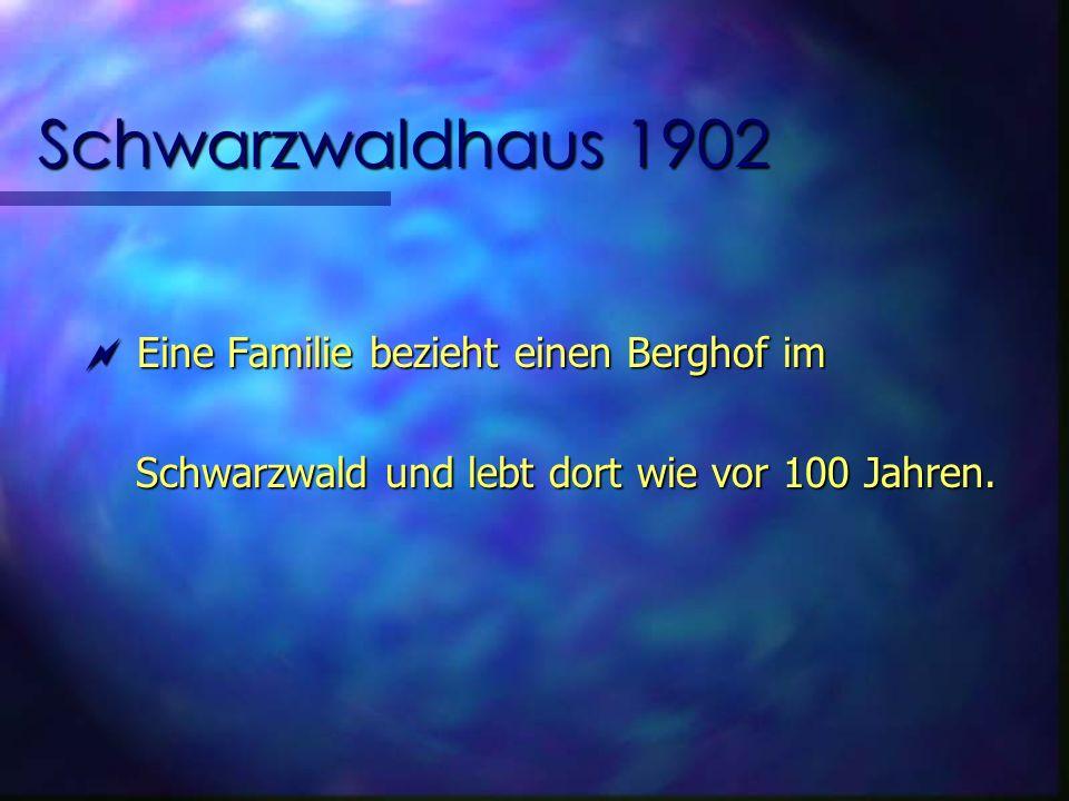 Schwarzwaldhaus 1902 Eine Familie bezieht einen Berghof im Eine Familie bezieht einen Berghof im Schwarzwald und lebt dort wie vor 100 Jahren.