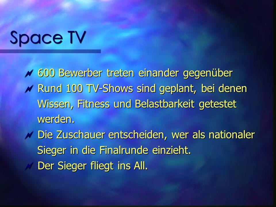 Space TV 600 Bewerber treten einander gegenüber 600 Bewerber treten einander gegenüber Rund 100 TV-Shows sind geplant, bei denen Rund 100 TV-Shows sind geplant, bei denen Wissen, Fitness und Belastbarkeit getestet Wissen, Fitness und Belastbarkeit getestet werden.