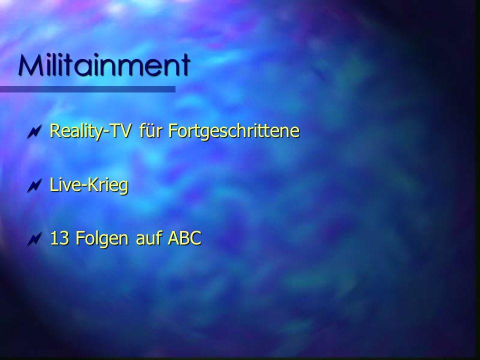 Militainment Reality-TV für Fortgeschrittene Reality-TV für Fortgeschrittene Live-Krieg Live-Krieg 13 Folgen auf ABC 13 Folgen auf ABC