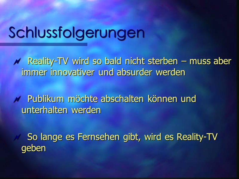 Schlussfolgerungen Reality-TV wird so bald nicht sterben – muss aber immer innovativer und absurder werden Reality-TV wird so bald nicht sterben – muss aber immer innovativer und absurder werden Publikum möchte abschalten können und unterhalten werden Publikum möchte abschalten können und unterhalten werden So lange es Fernsehen gibt, wird es Reality-TV geben So lange es Fernsehen gibt, wird es Reality-TV geben