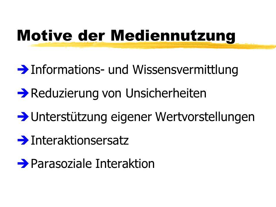 Motive der Mediennutzung è Informations- und Wissensvermittlung è Reduzierung von Unsicherheiten è Unterstützung eigener Wertvorstellungen è Interaktionsersatz è Parasoziale Interaktion