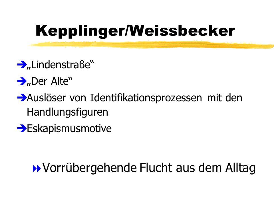 Kepplinger/Weissbecker èLindenstraße èDer Alte èAuslöser von Identifikationsprozessen mit den Handlungsfiguren èEskapismusmotive Vorrübergehende Flucht aus dem Alltag