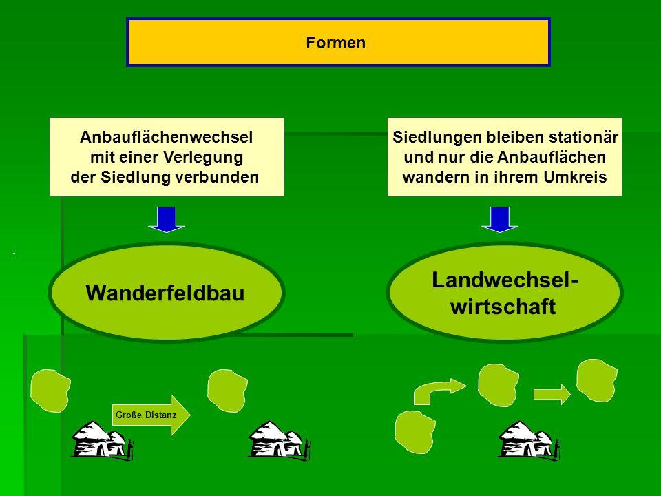 Formen Anbauflächenwechsel mit einer Verlegung der Siedlung verbunden Siedlungen bleiben stationär und nur die Anbauflächen wandern in ihrem Umkreis.
