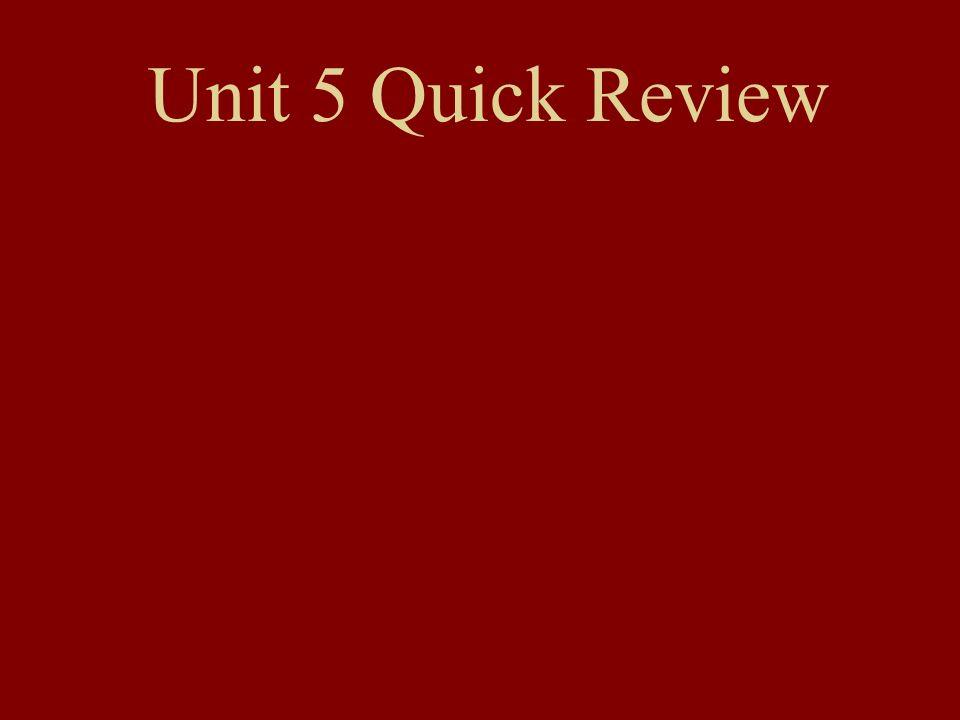 Unit 5 Quick Review
