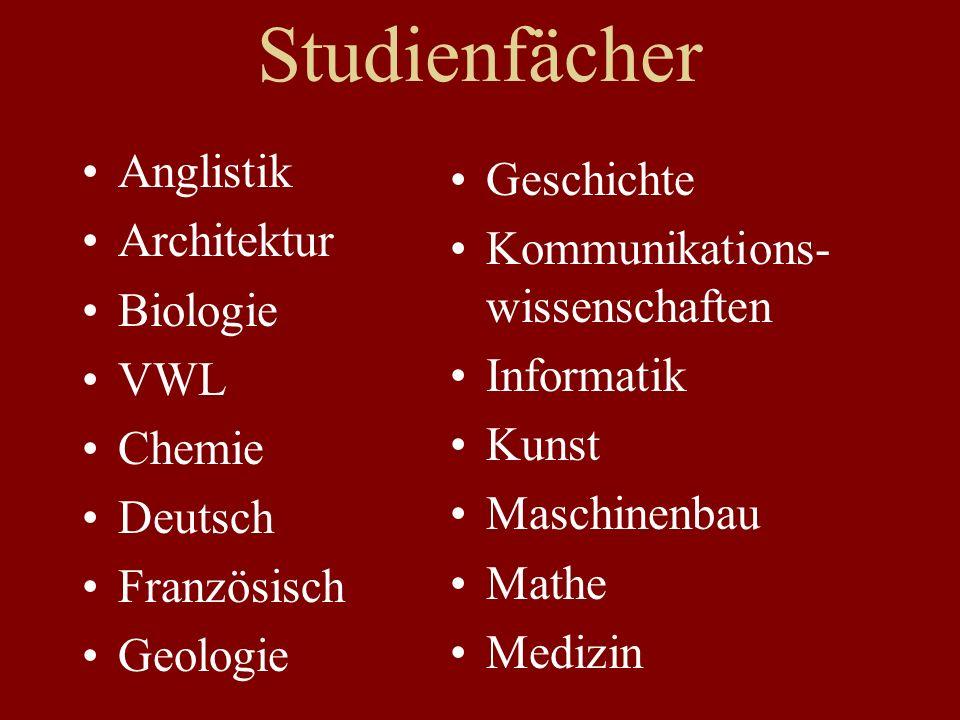 Studienfächer Anglistik Architektur Biologie VWL Chemie Deutsch Französisch Geologie Geschichte Kommunikations- wissenschaften Informatik Kunst Maschinenbau Mathe Medizin