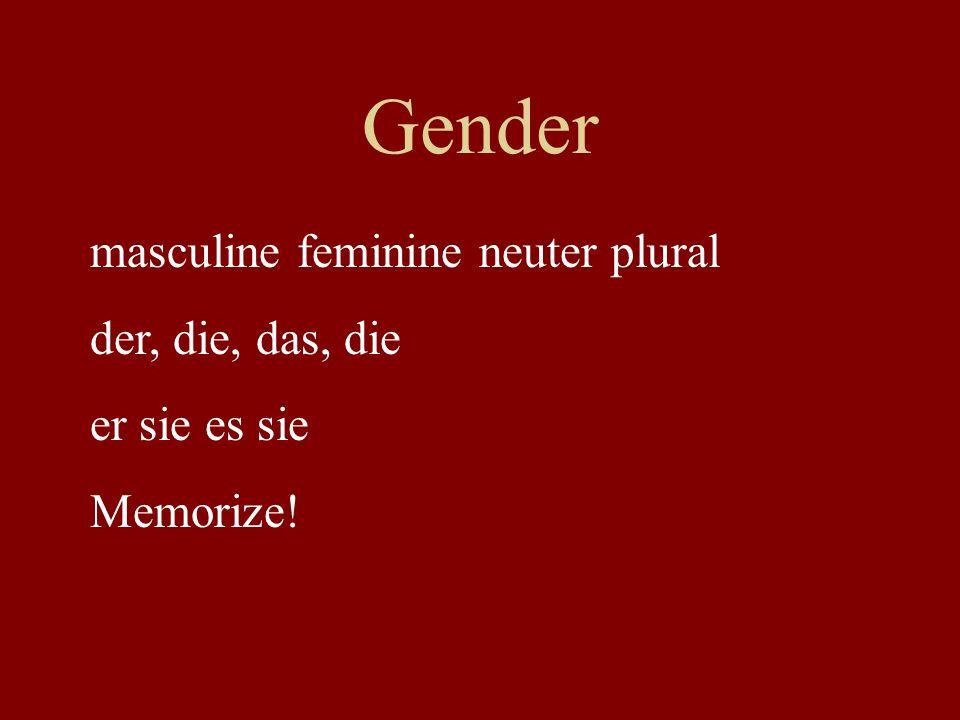 Gender masculine feminine neuter plural der, die, das, die er sie es sie Memorize!