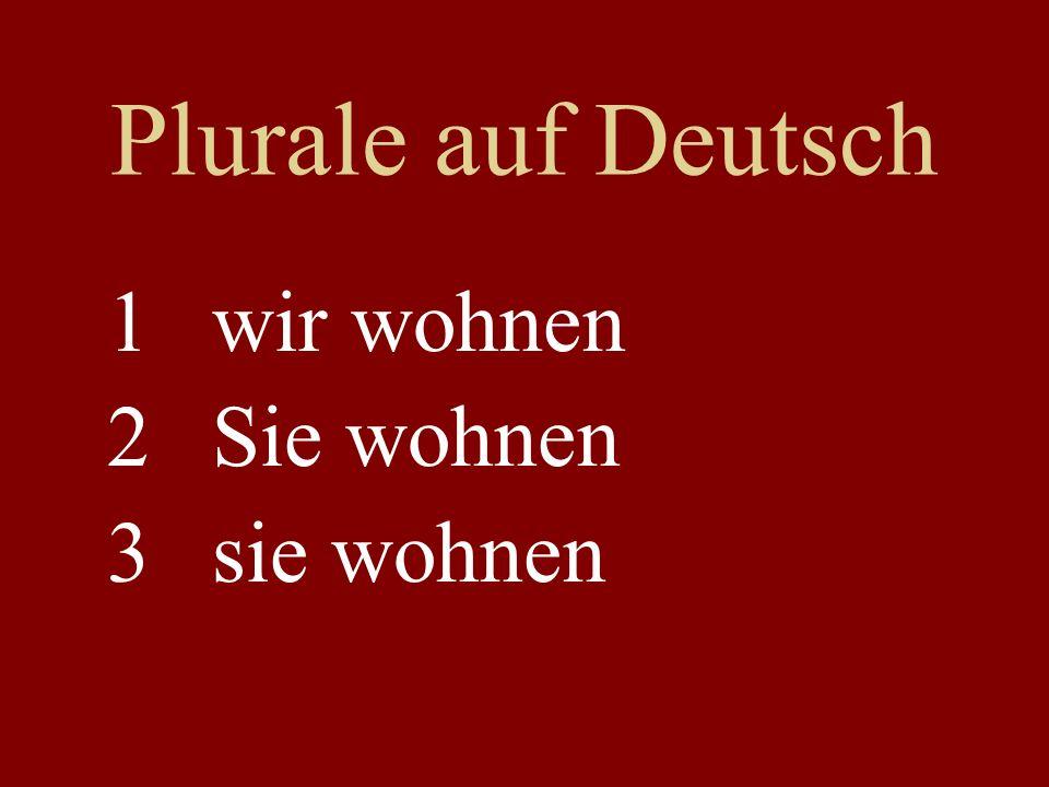 Plurale auf Deutsch 1wir wohnen 2Sie wohnen 3sie wohnen
