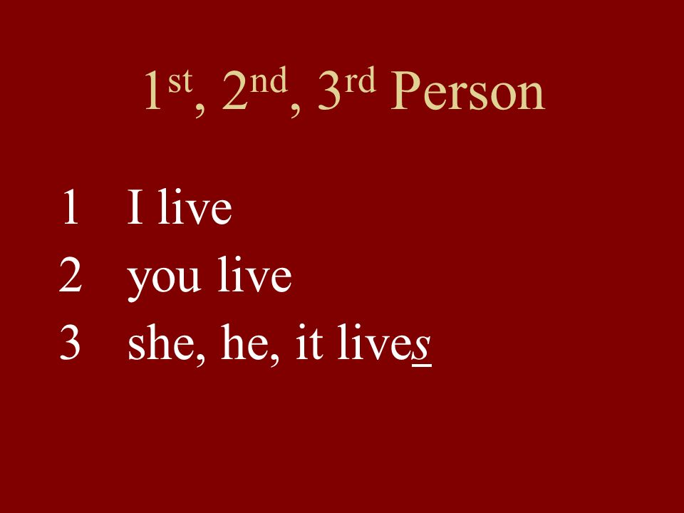 1 st, 2 nd, 3 rd Person 1I live 2you live 3 she, he, it lives
