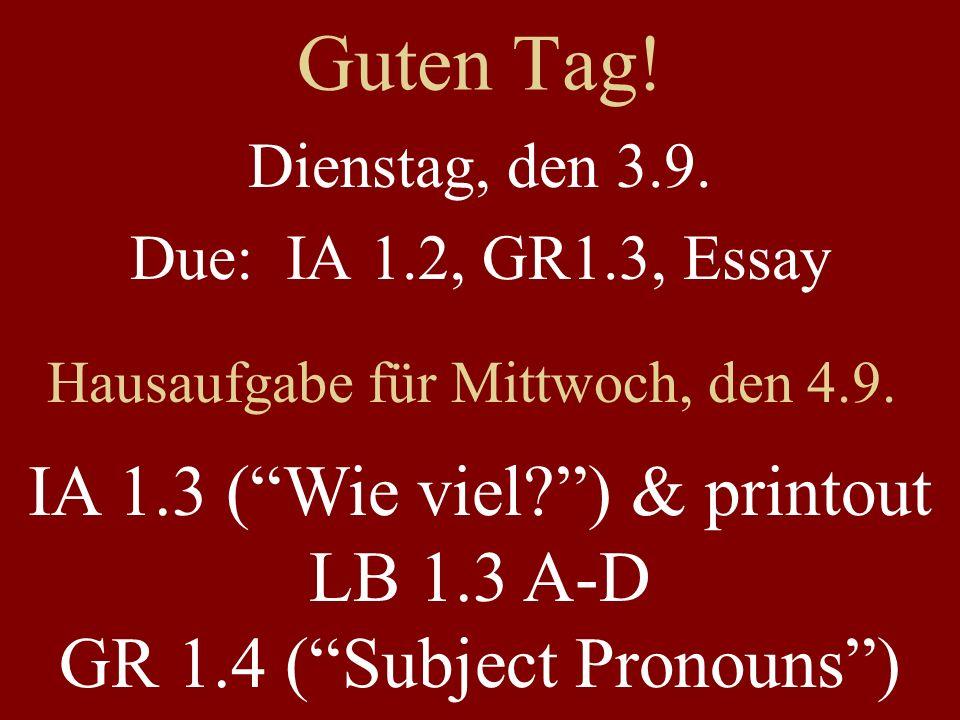 Guten Tag. Dienstag, den 3.9. Due: IA 1.2, GR1.3, Essay Hausaufgabe für Mittwoch, den 4.9.
