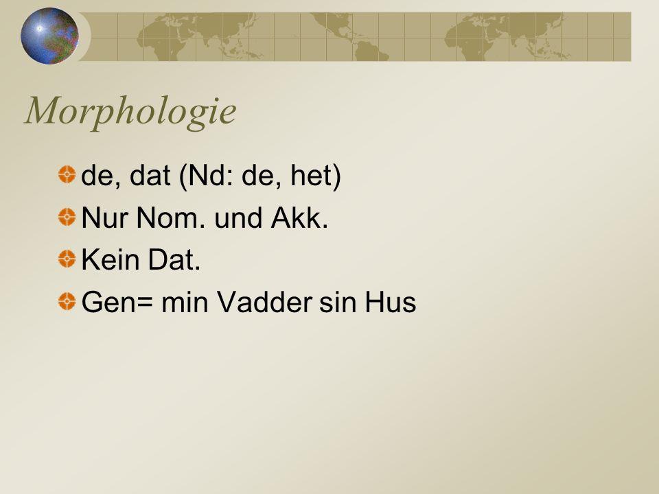 de, dat (Nd: de, het) Nur Nom. und Akk. Kein Dat. Gen= min Vadder sin Hus Morphologie