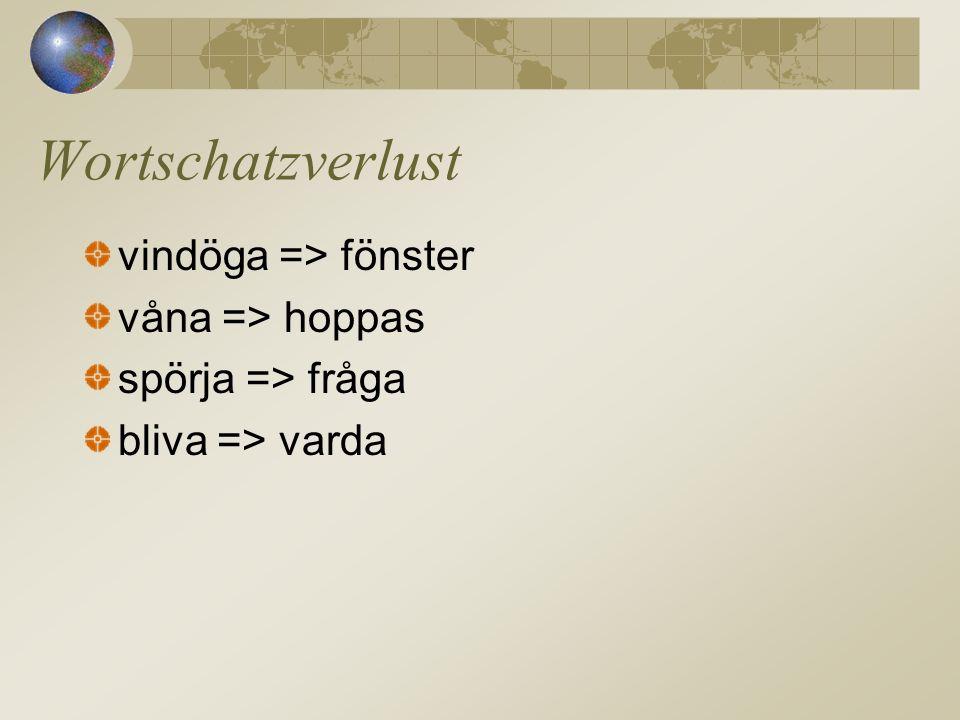vindöga => fönster våna => hoppas spörja => fråga bliva => varda Wortschatzverlust