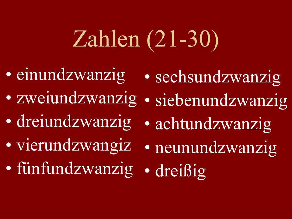 Zahlen (21-30) einundzwanzig zweiundzwanzig dreiundzwanzig vierundzwangiz fünfundzwanzig sechsundzwanzig siebenundzwanzig achtundzwanzig neunundzwanzi