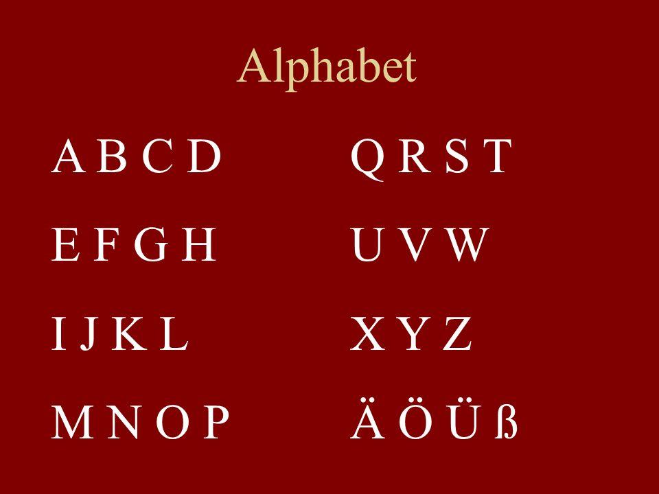 Alphabet A B C D E F G H I J K L M N O P Q R S T U V W X Y Z Ä Ö Ü ß