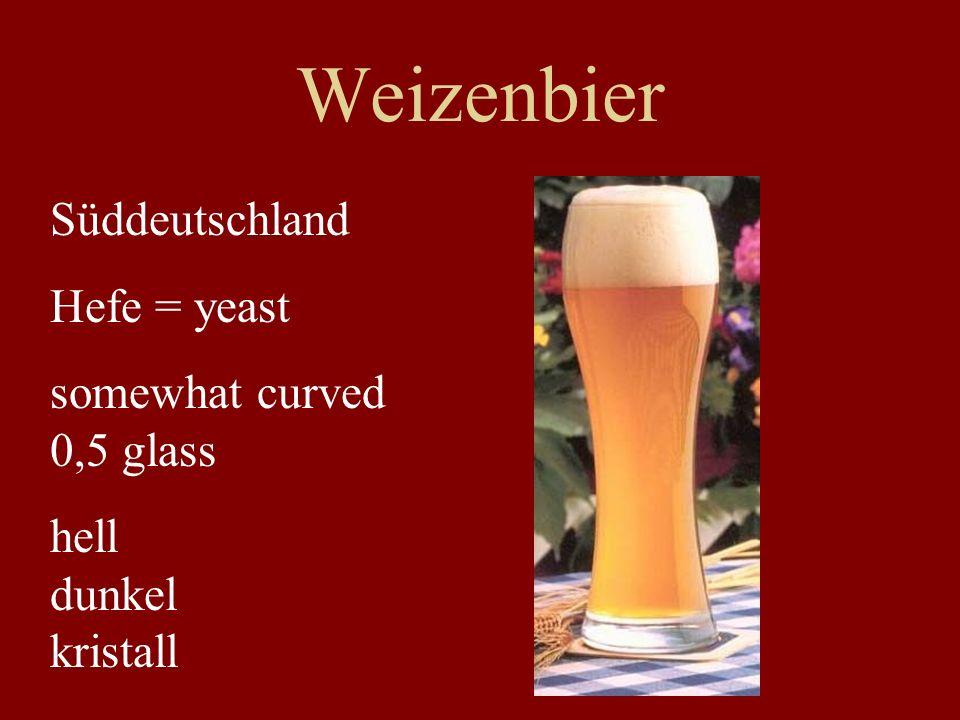 Weizenbier Süddeutschland Hefe = yeast somewhat curved 0,5 glass hell dunkel kristall