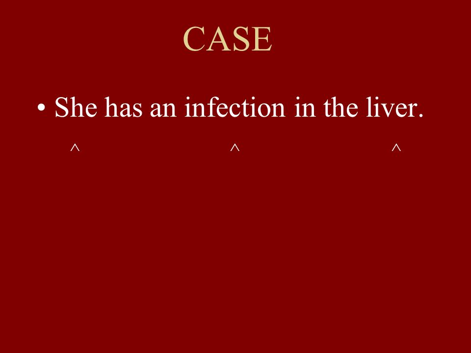 CASE She has an infection in the liver. ^ ^ ^