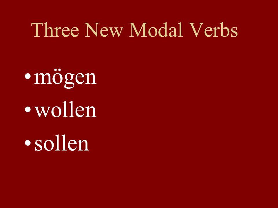 Three New Modal Verbs mögen wollen sollen