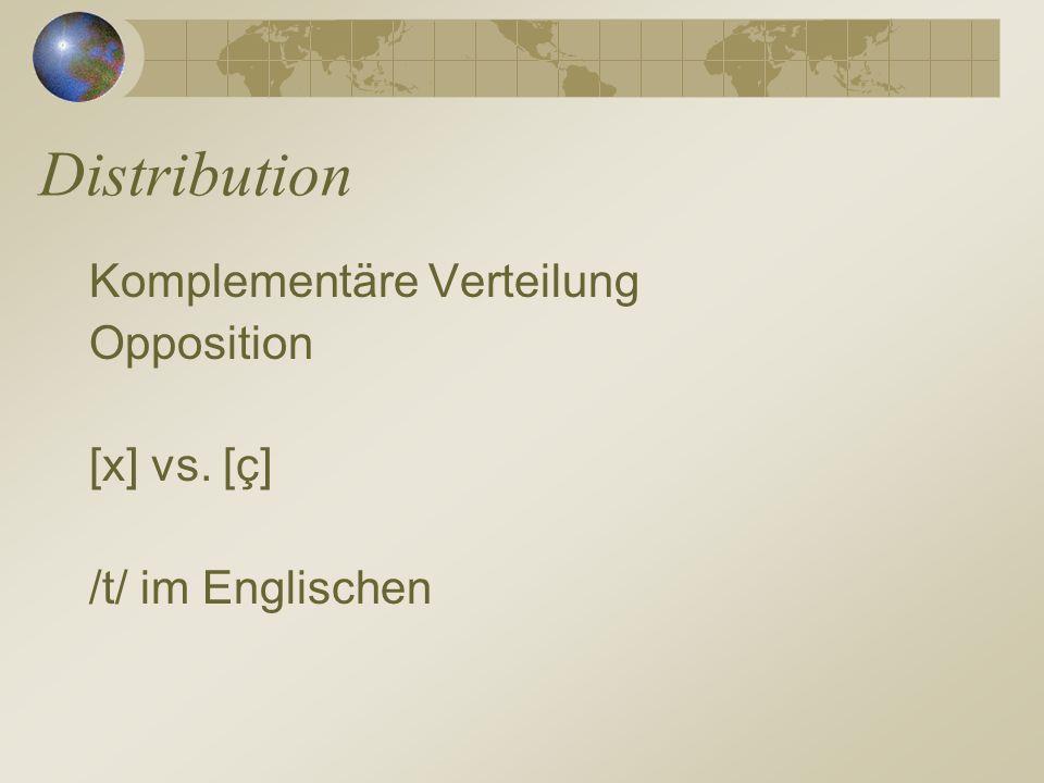 Distribution Komplementäre Verteilung Opposition [x] vs. [ç] /t/ im Englischen