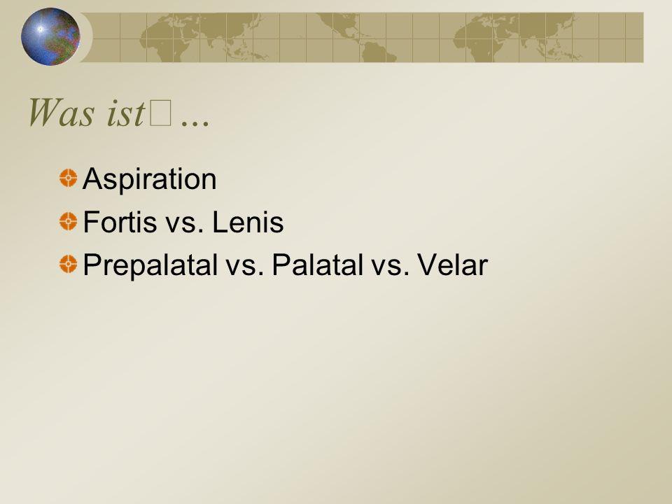 Was ist… Aspiration Fortis vs. Lenis Prepalatal vs. Palatal vs. Velar