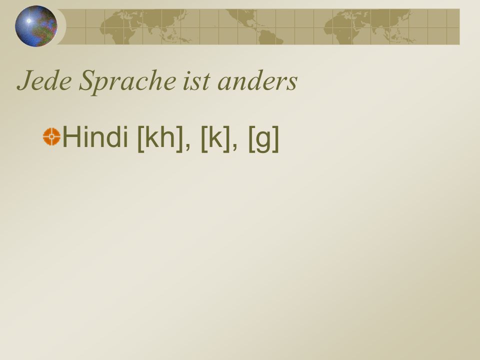 Jede Sprache ist anders Hindi [kh], [k], [g]