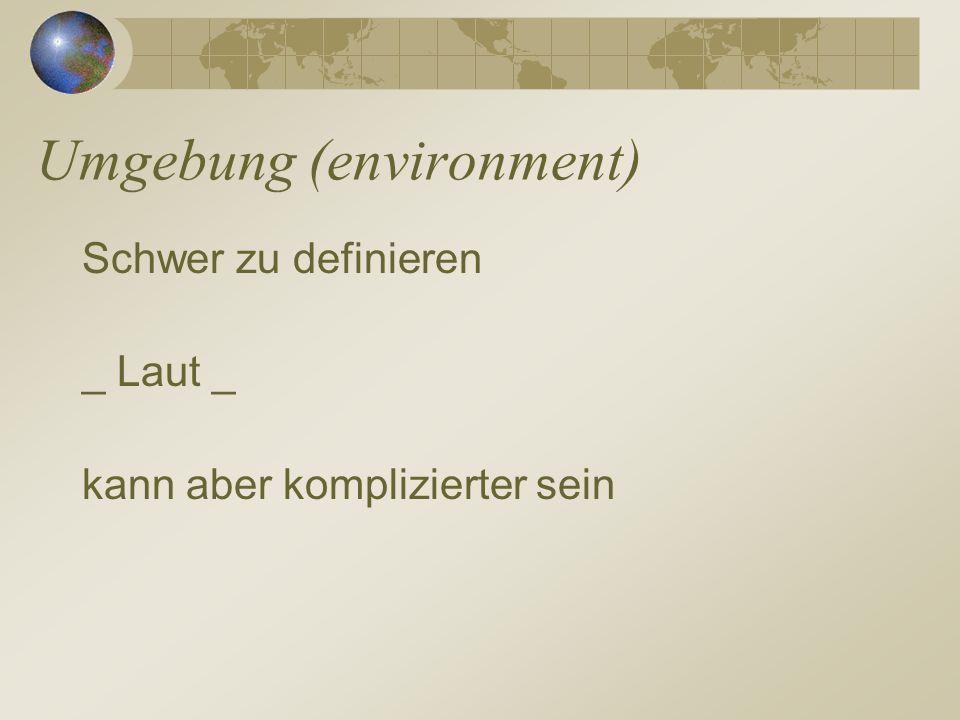 Umgebung (environment) Schwer zu definieren _ Laut _ kann aber komplizierter sein
