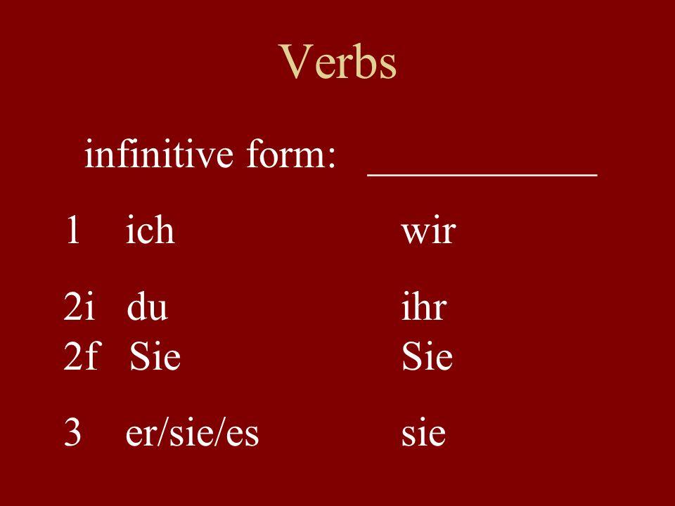 Verbs infinitive form: ___________ 1 ichwir 2i duihr 2f SieSie 3 er/sie/essie