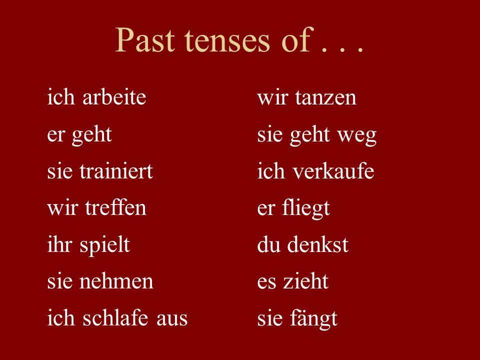 Past tenses of...