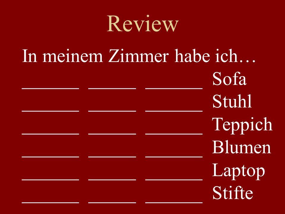 Review In meinem Zimmer habe ich… ______ _____ ______ Sofa ______ _____ ______ Stuhl ______ _____ ______ Teppich ______ _____ ______ Blumen ______ ___