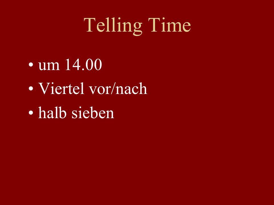 Telling Time um 14.00 Viertel vor/nach halb sieben