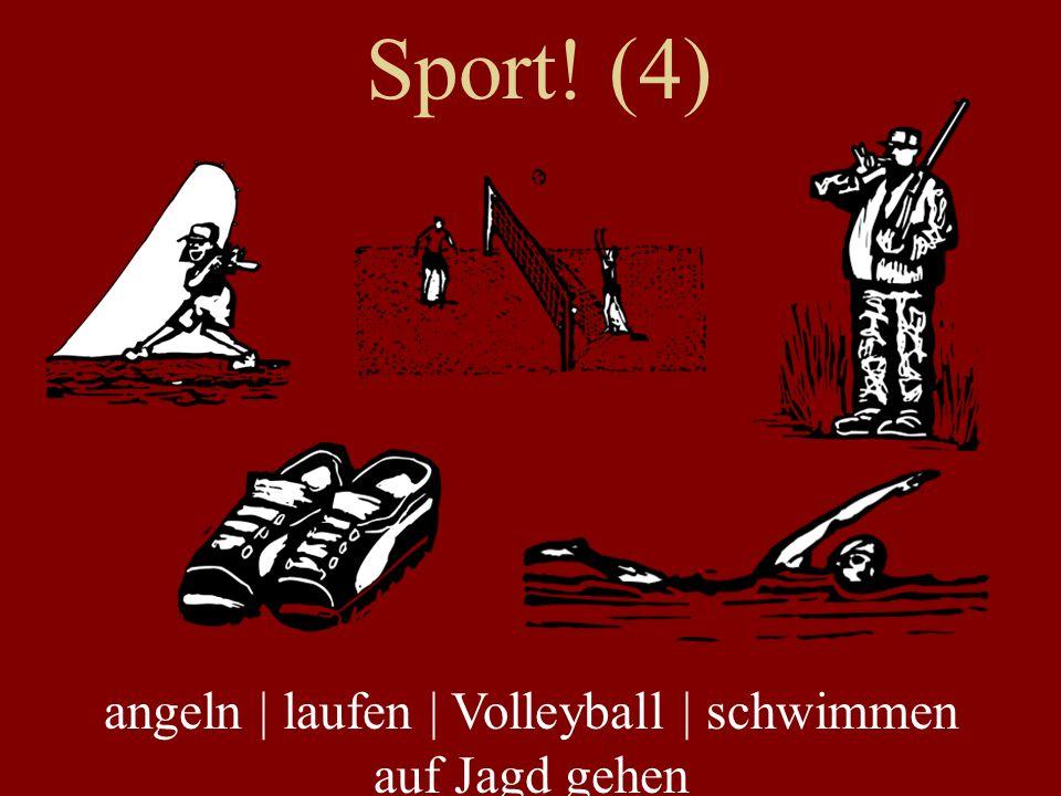 Sport! (4) angeln | laufen | Volleyball | schwimmen auf Jagd gehen