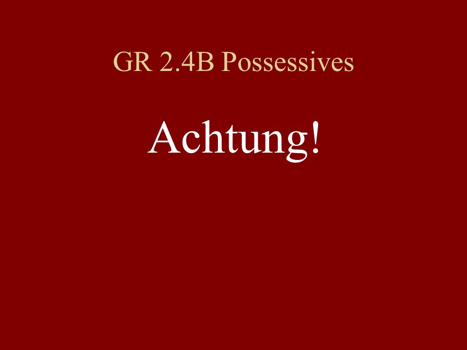 GR 2.4B Possessives Achtung!