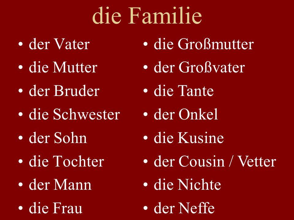 die Familie der Vater die Mutter der Bruder die Schwester der Sohn die Tochter der Mann die Frau die Großmutter der Großvater die Tante der Onkel die Kusine der Cousin / Vetter die Nichte der Neffe
