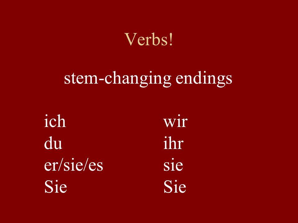 Verbs! stem-changing endings ichwir duihr er/sie/essieSie